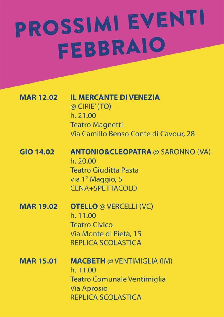 prossimi eventi - FEBBRAIO 19